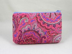 Paisley cotton zipper pouch, pink and lilac case, womens zipper pouch, cosmetic case, bag accessory, by JRsbags on Etsy