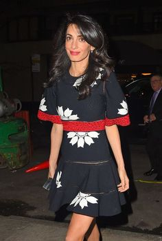Amal Clooney in Alexander McQueen for a dinner at the Caravaggio Restaurant in New York 28.04.2015
