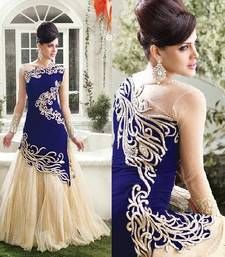 Buy blue embroidered georgette semi stitched anarkali suits party-wear-salwar-kameez online