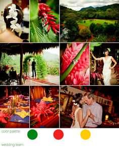 Amy and Scott's tropical getaway was filled with jungle adventures for an entire week leading up to their ceremony - horseback riding, watersliding down nature-built tunnels, even a white water rafting trip. But the best part of the trip was their intimate, romantic wedding celebration with their beloved families. The rainforest provided the decor, and a few toucans and frogs appeared as uninvited but welcome guests.