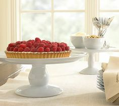 Great White Cake Stand #potterybarn  doesnt have to be this exact one, but just something simple and white