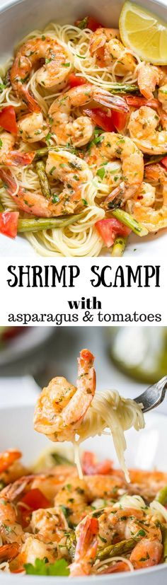 Shrimp Scampi with Asparagus and Tomatoes ~ an easy and delicious restaurant quality dish you can make at home!
