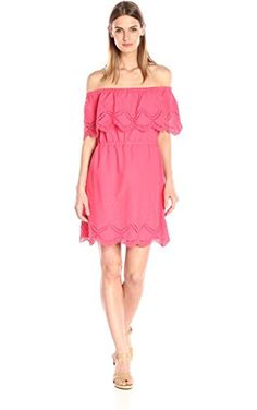 Kensie Women's Crochet Embroidered Off-Shoulder Dress, Hot Coral Combo, X-Small ❤ Kensie Women's Collection