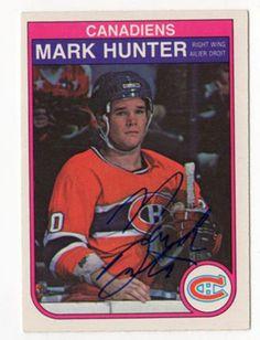 1982-83-O-Pee-Chee-Mark-Hunter-Montreal-Canadiens-Signed-Rookie-Hockey-Card