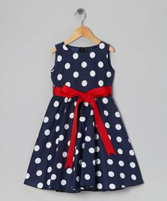 Blue Polka Dot Bow Dress - Infant, Toddler & Girls | Daily deals for moms, babies and kids