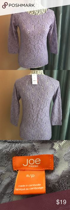37f67f561c JOE FRESH Lace Shirt Beautiful lavender see through lace pullover shirt.  50% cotton.