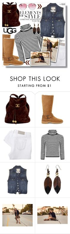 """""""The New Classics With UGG: Contest Entry"""" by sans-moderation ❤ liked on Polyvore featuring Chanel, UGG, Victoria Beckham, Vera Wang, Current/Elliott, NOVICA and Minnie Rose"""