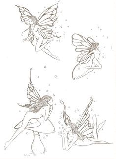 fairies e. by ~ellys-vr on deviantART Dainty Tattoos, Dope Tattoos, Pretty Tattoos, Mini Tattoos, Body Art Tattoos, Tattoo Drawings, Small Tattoos, Small Fairy Tattoos, Fairy Wing Tattoos