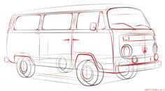 How to draw a VW bus | Step by step Drawing tutorials