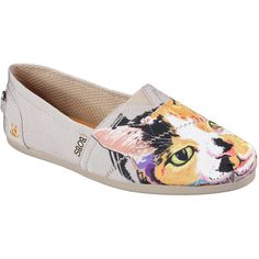 Skechers Women's Bobs Plush - Cat-Tastic Natural - Skechers ($45) ❤ liked on Polyvore featuring shoes, natural, cat print shoes, multi colored flat shoes, flat shoes, colorful flat shoes and skechers shoes