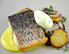 Farmed barramundi with sweet corn puree, wild mushroom ragout & soft tarragon butter. To see more healthy and sustainable recipes using Australis Barramundi, check out our website here: http://www.thebetterfish.com/recipes