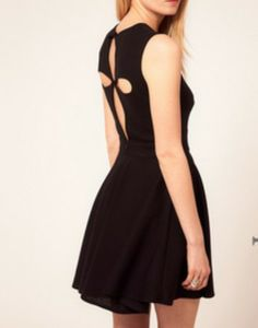 Black Jewel Neck Sleeveless Pleated Dress with Cut Out Back