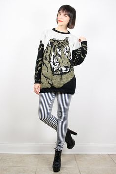 Vintage 80s Sweater Tiger Cat Print Black by ShopTwitchVintage #vintage #etsy #80s #1980s #sweater #cat #tiger #newwave #jumper #pullover