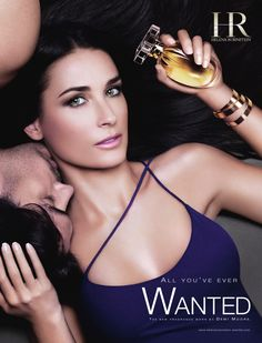 """""""Wanted"""" Ad – Helena Rubinstein – Source: theinspirationroom.com Strategy: Sex Appeal & Celebrity Endorsement Description – A large photograph of Demi Moore is central to this ad.  Only her face, neck and torso are seen. She is wearing a tight-fitting, purple, spaghetti-strap tank top. Her green eyes are made to look vivid and sensual."""