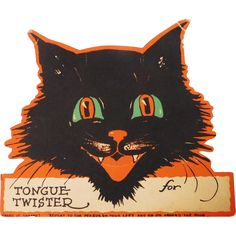 Halloween party decoration cat Tongue Twister place card game Gibson from gaspee-sales on Ruby Lane