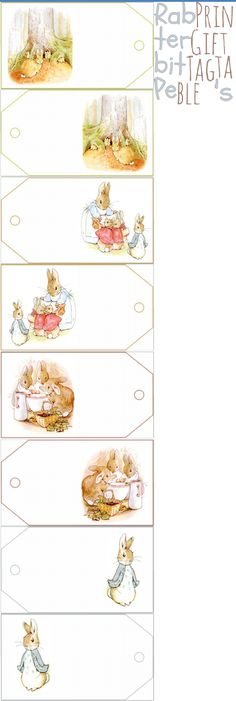 8 tags with images from The Tale of Peter Rabbit, digital collage sheets for paper crafts, Beatrix Potter, Peter Rabbit Birthday, Peter Rabbit Party, Coelho Peter, Peter Rabbit And Friends, Bunny Party, Gift Tags Printable, Easter Crafts, Christening
