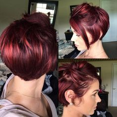 S a bobby pin, messy look kind of day! Short Red Hair, Short Hair With Layers, Short Hair Cuts, Medium Hair Styles, Short Hair Styles, Haircut And Color, Red Pixie Haircut, Burgundy Hair, Red Violet Hair