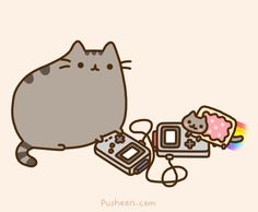 Pusheen has the best life. pusheen: On the weekends I meet up with Nyan Cat to trade Pokemon!