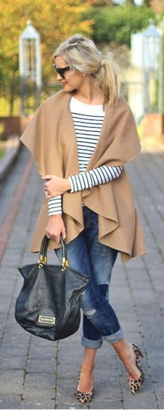 I love the shawl like sweater over the stripes and jeans
