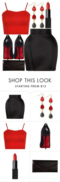"""""""girls night out"""" by j-n-a ❤ liked on Polyvore featuring Balmain, Thalia Sodi, WearAll, Christian Louboutin, NARS Cosmetics and Lodis"""