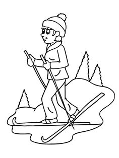 Skiing Coloring Page Sports Coloring Pages, Coloring Pages For Girls, Christmas Colors, Winter Christmas, Holiday, Sunday School Decorations, Page Az, Winter Activities For Kids, Quilling Patterns