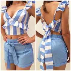 Diy Fashion, Fashion Dresses, Womens Fashion, Fashion Trends, Curvy Outfits, Casual Summer Outfits, Crop Top And Shorts, Crop Tops, Refashion