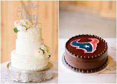 Silver & Lace vintage barn wedding.  photo by The Tarnos.  Bride & Grooms cakes