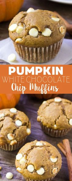 Moist, fluffy & filled with fall flavors - these pumpkin white chocolate chip muffins are the perfect breakfast or mid-morning treat! via @ohsweetbasil