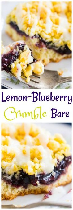 Soft, fluffy, cake-like lemon bars, topped with blueberry pie filling, a smattering of buttery, melt-in-your-mouth lemon crumble, and a generous drizzle of fresh lemon glaze.