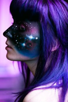 """Lost In Space. Makeup artist, Dina Day from Vancouver, Canada, utilizes airbrushing to get the effect of smooth blended colors. When this painting method is used on the body, it can appear like """"skintight"""" clothing.  Does it appear like the model is wearing a galactic face mask? via http://www.kidsumers.ca/"""