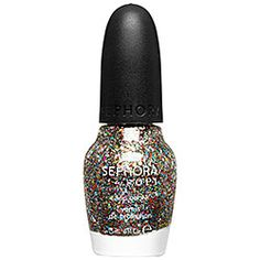SEPHORA by OPI - Jewelry Top Coats in Spark-tacular! Top Coat - clear with multicolored medium and chunky glitter  #sephora