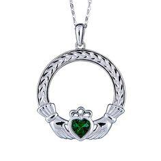 Emerald+Claddagh+Woven+Pendant+