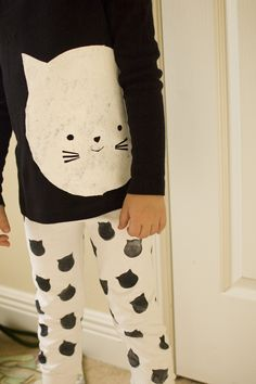 hand printed kitty jammies: freezer paper stenciled shirt, stamped pants