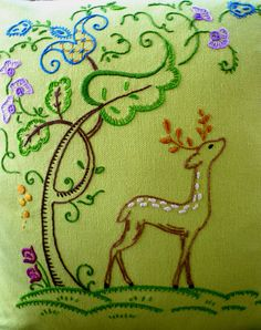 """Woodland Deer Hand-Embroidered Cushion Cover by Etsy seller """"MelysHandEmbroidery"""" (Rebecca Betancourt)"""