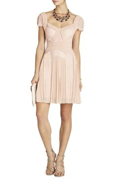 BCBG Bare Pink Aris Pleated Lace-Inset Cocktail Dress