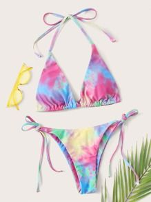 Tie Dye Halter Triangle Tie Side Bikini Swimsuit Multicolor Sexy Boho   Polyester Tie Dye   High Stretch  Bikini Sets size features are:Bust: Length:  Sleeve Length: Bikini Set, Bikini Swimwear, Swimsuits, Tie Dye, Bra Types, Beachwear For Women, Spandex Material, String Bikinis, Sexy