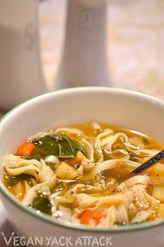 Oven Roasted Vegetable & Noodle Soup | Vegan Yack Attack
