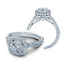 Verragio Classic Diamond Halo Engagement Ring Setting 14k White Gold