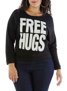 Plus-Size Shredded-Back Free Hugs Tee