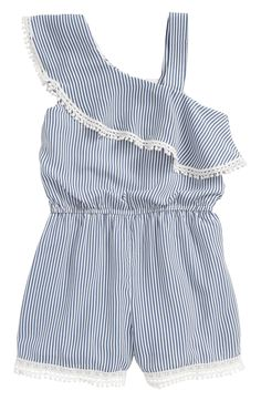 online shopping for Truly Me Stripe Ruffle Romper (Toddler Girls & Little Girls) from top store. See new offer for Truly Me Stripe Ruffle Romper (Toddler Girls & Little Girls) Frocks For Girls, Dresses Kids Girl, Little Girl Outfits, Kids Outfits, Ruffle Romper, Baby Girl Romper, Baby Dress, Baby Frocks Designs, Girls Rompers