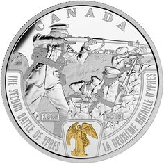 On the 100th anniversary of the Second Battle of Ypres, the Royal Canadian Mint pays tribute to Canada's soldiers who stood bravely in the face of unprecedented peril.  This fine silver coin, the second in the Mint's new First World War-themed series entitled Battlefront, features a faithful recreation of the winged figure of Victory from the Victory Medal.