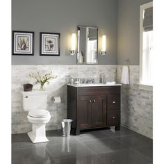 Guest bathroom Asher and roth Palencia Espresso Contemporary Bathroom Vanity Bathroom Renos, Bathroom Renovations, Home Remodeling, Bathroom Vanities, Bathroom Ideas, Bathroom Cabinets, Granite Bathroom, Dark Vanity Bathroom, Mirror Cabinets