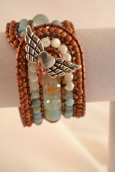Boho Copper Leather Cuff Statement Bracelet Carved by CloesCloset, $58.00