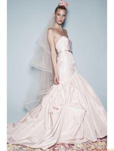 Rose Robe de mariée taffetas col en coeur avec ceinture