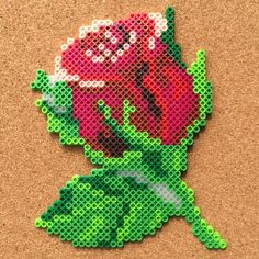 Rose flower perler hama beads by Tsubasa Yamashita Perler Bead Designs, Hama Beads Design, Diy Perler Beads, Perler Bead Art, Pearler Bead Patterns, Perler Patterns, Art Perle, Motifs Perler, Peler Beads