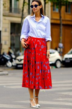 Light blue shirt with red paisley print midi skirt | beautiful skirt and love the combo