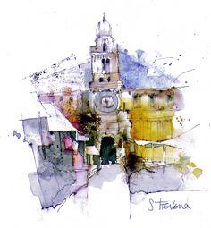 Padua, Palazzo del Capitanio - Mixed Media 14 x 13 cm Watercolor Architecture, Watercolor Landscape, Abstract Watercolor, Landscape Art, Watercolor Paintings, Watercolor Trees, Watercolor Artists, Watercolor Portraits, Abstract Paintings
