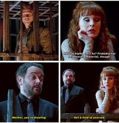 Supernatural 11x09 dying over Rowena crushing on the prince of evil #Rowena #Crowley #Lucifer