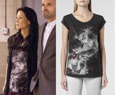 Elementary Season 2, Episode 6: Joan Watson's (Lucy Liu) AllSaints Folds Crew graphic/geometric print t-shirt #getthelook #elementary #joanwatson