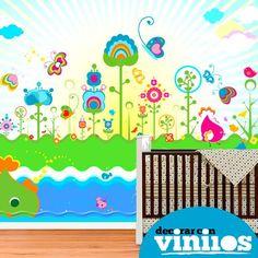 Fotomural Infantil - Fondo floral